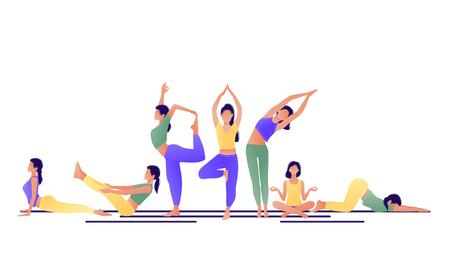 Ensemble de fille d'entraînement de yoga. Femmes faisant des exercices de yoga. Peut être utilisé pour une affiche, une bannière, un dépliant, une carte, un site Web. Échauffement, étirements. Illustration vectorielle. Vert jaune violet