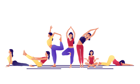 Yoga workout girl set. Women doing yoga exercises. Can be used for poster, banner, flyer, card, website. Warming up, stretching. Vector illustration. Red yellow violet