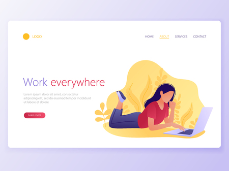 Landing Web page template of Woman working on a laptop. Work anywhere, everywhere, freelance, social media, spending free time online concept. Flat vector illustration 向量圖像