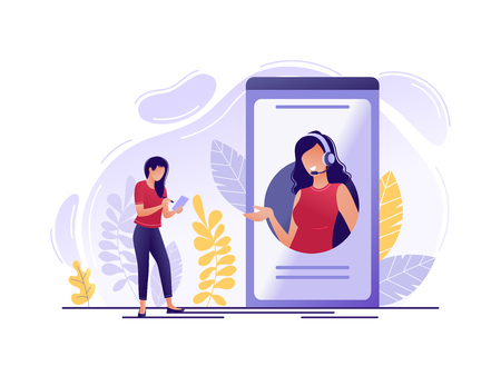 Soporte técnico online. Mujer cerca de teléfono grande con operadora de línea directa femenina. Asistente en línea, servicio de ayuda virtual, 24-7, cliente y operador. Ilustración de vector de concepto plano