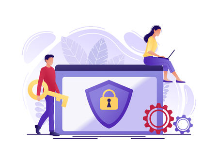 Security - people protecting computer data. Data protection concept for web page, banner, presentation, social media. Network security, data security, privacy concept. Flat concept vector illustration