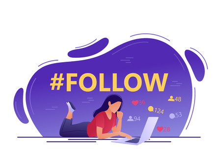 Follow hashtag - Young woman using laptop. Social network, media, chat. Flat concept vector illustration for web, landing page, banner. Isolated on white