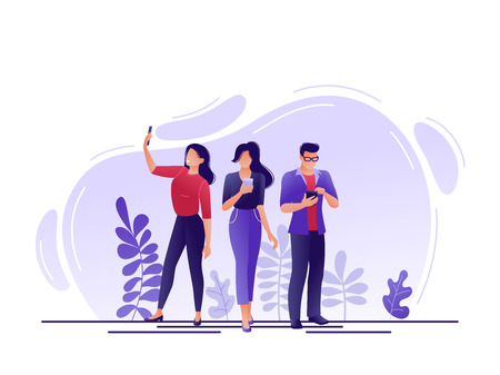 Social media, networks. People using smartphones, chatting together, taking selfie. Flat concept vector illustration for web, landing page, banner. Isolated on white