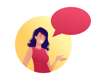 Woman talking with speech bubble. Place for text. Could be used for blogs, social media, advertising, web-design etc. Flat vector illustration
