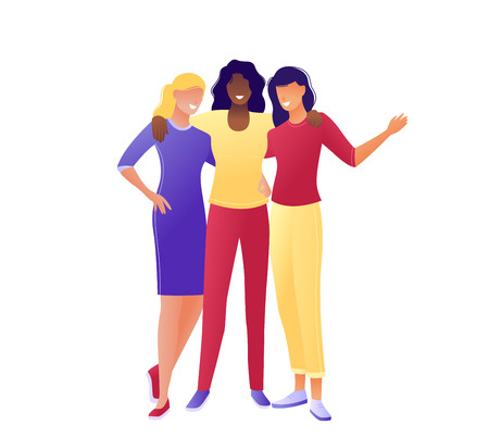 Young happy women hugging together. Happy International Women s Day 8 march. Flat concept vector illustration for web, landing page, banner, presentation, flyer, poster