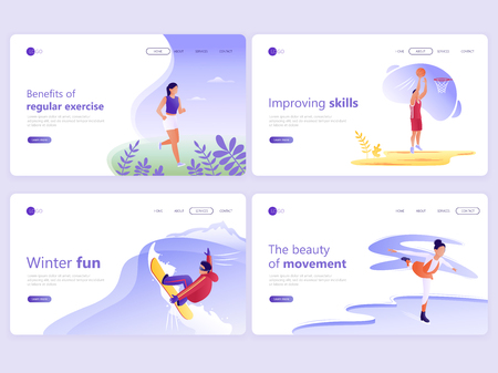 Set of Landing page templates. People doing sports, jogging, basketball, skating, snowboarding. Vector illustration for a web page or website