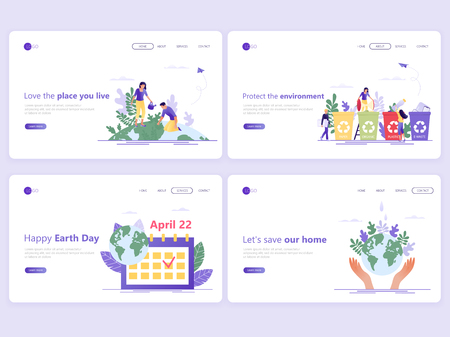 Set of Landing page templates. Save the planet, Happy Earth Day, save energy, ecology, world environment day concept. Flat vector illustration concepts for a web page or website