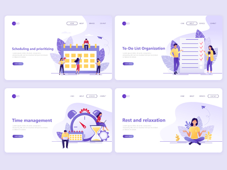 Set of Landing page templates. Business planning, time management, strategy and organization. Flat vector illustration concepts for a web page or website.