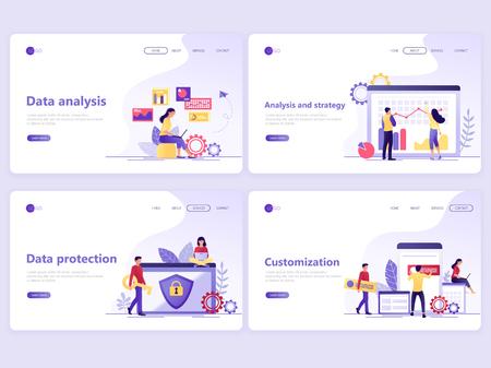 Set di modelli di pagine di destinazione. Analisi dei dati, strategia, protezione, personalizzazione. Concetti di illustrazione vettoriale piatto per una pagina web o un sito web. Vettoriali