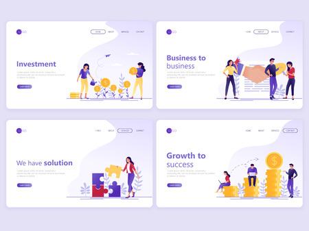 Set di modelli di pagine di destinazione. Investimenti aziendali, partnership, consulenza finanziaria, crescita verso il successo. Concetti di illustrazione vettoriale piatto per una pagina web o un sito web.