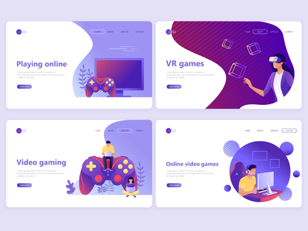 Set of Landing page templates. Video gaming, online games, VR gaming, gamepad. Flat vector illustration concepts for a web page or website
