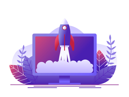 Rocket takes off in the computer. Concept of new business project start-up development, launch a new innovation product on a market. Flat vector illustration.
