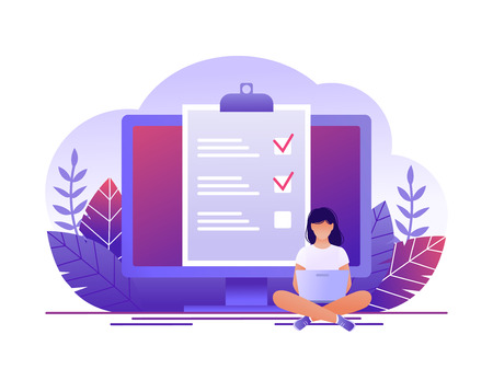 Month planning, to do list, time management. Woman is sitting with laptop and working with data near large computer monitor. Flat concept vector illustration.