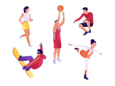 Set of athletes. People lead a healthy and active lifestyle. Men and women do fitness, snowboarding, figure skating, play basketball. Flat vector illustration  イラスト・ベクター素材