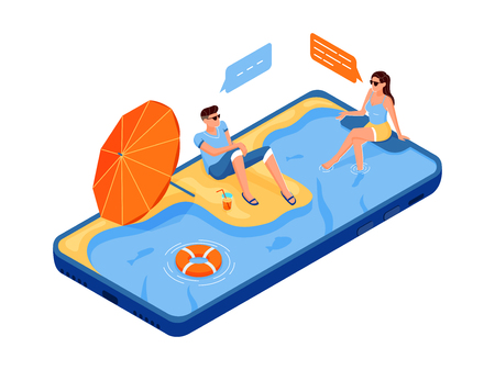Social networks, internet communication. Man and woman chatting together sitting on the smartphone. Screen like water pool. Beach. Flat 3d isometric isometry web vector illustration