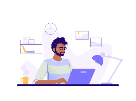 Office worker. Man is working at his laptop in the office interior. Blue, green, yellow. Isolated flat vector illustration