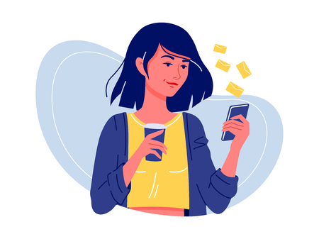 Social networks. Young happy woman standing with smartphone and coffee chatting with friends. Internet communication. Isolated flat vector illustration