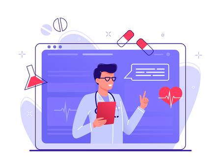 Online healthcare. Medical Consultation by Internet with Doctor. Medicine Concept. Medical Service Online for Patients. Telemedicine. Vector Illustration