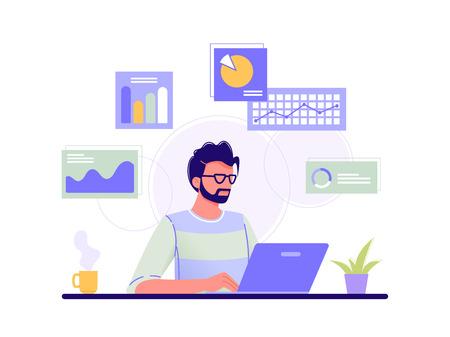 Kantoormedewerker. Man werkt op zijn laptop en de infographics op de achtergrond. Blauw, groen, geel. Geïsoleerde platte vectorillustratie.