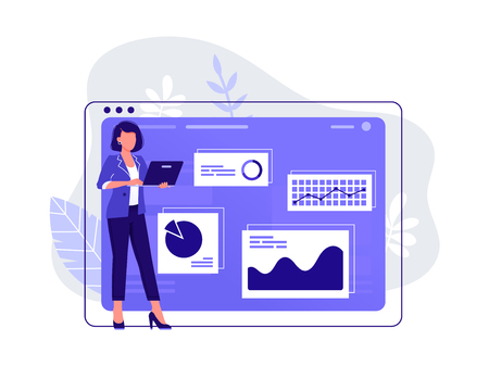 Office worker. Woman is working at her laptop near big computer monitor and the infographics on the background. Work with data, analysis. Isolated flat vector illustration