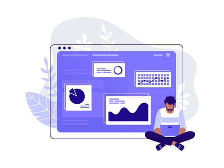 Office worker. Man is working at his laptop near big computer monitor and the infographics on the background. Work with data, analysis. Isolated flat vector illustration