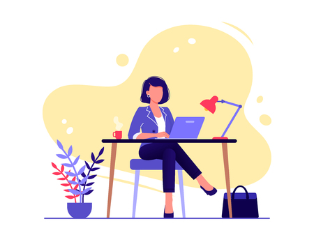 Office worker. Businesswoman is sitting at the desk and working on the laptop. Flat vector concept illustration isolated on white Illusztráció