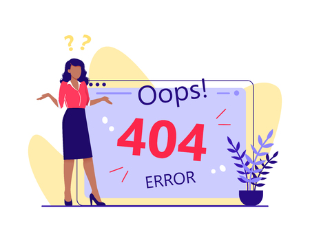 Error 404, page not found, disconnection from the Internet, unavailable page. Woman is standing near big computer screen, Flat vector concept illustration isolated on white.
