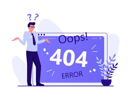Error 404, página no encontrada, desconexión de Internet, página no disponible. El hombre está de pie cerca de la pantalla de la computadora grande, Ilustración del concepto de vector plano aislado en blanco