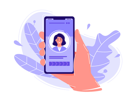 Hand holding smartphone with photo of the woman. Concept of phone call, applications, selfie or social networks. Flat concept vector illustration, isolated on white Illusztráció