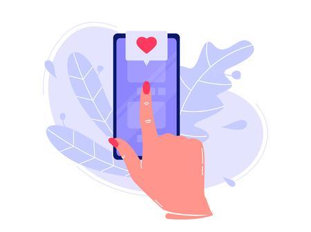 Forefinger is pressing button on the smartphone in application and likes. Social networks, rating. Flat vector concept illustration isolated on white Illusztráció