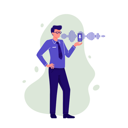 Personal assistant and voice recognition. Man talking to smartphone with microphone and sound imitation line on background. Modern technologies. Flat vector illustration