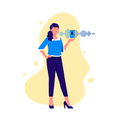 Personal assistant and voice recognition. Woman talking to smartphone with microphone and sound imitation line on background. Modern technologies. Flat vector illustration