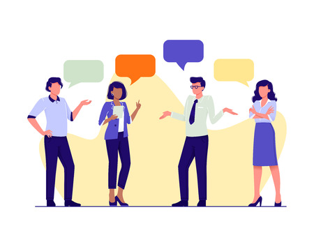 People talking together. Business men and women discuss news, ideas, projects. Dialogue speech bubbles. Brainstorming, chat, looking for idea. Flat vector illustration