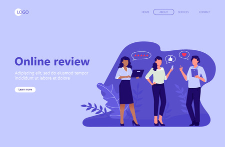 Web landing page template. Online review. People are giving stars, feedback and rating. Thumb up, stars line, like icons. Flat vector illustration for web, mobile app, UI, UX, site Stock Illustratie