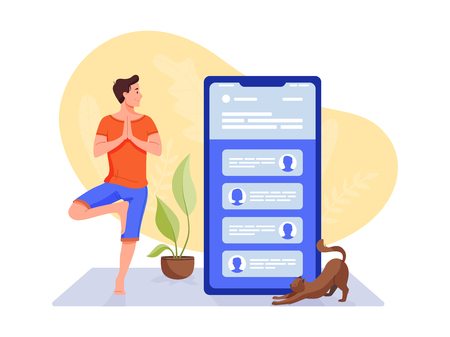 Social networks, chatting, dating app. Young man are doing yoga with big smartphone and talking to phone. Flat vector concept illustration isolated on white. Illusztráció