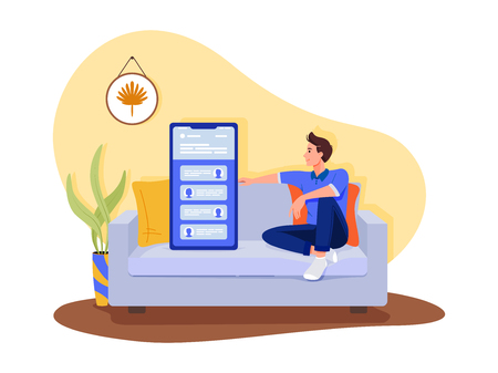 Social networks, chatting, dating app. Young man are sitting with big smartphone on the sofa and talking to phone. Flat vector concept illustration isolated on white. Illusztráció