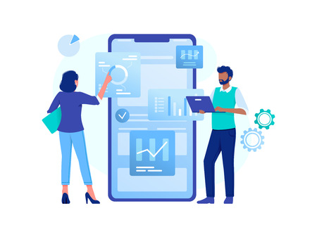Data analysis, strategy. Woman and man are working with data near big smartphone. Flat vector concept illustration for website, banner, flyer. Isolated on white 일러스트