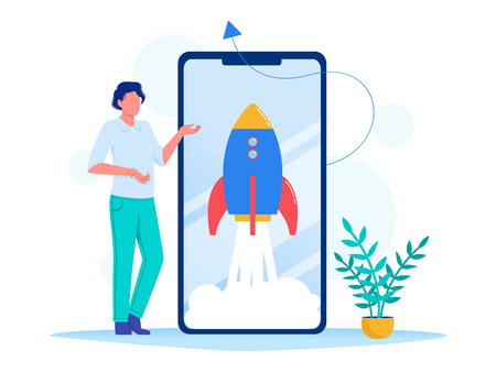 Rocket, spaceship takes off in the smartphone. Concept of new business project start-up development, launch a new innovation product on a market. Flat vector illustration Illustration