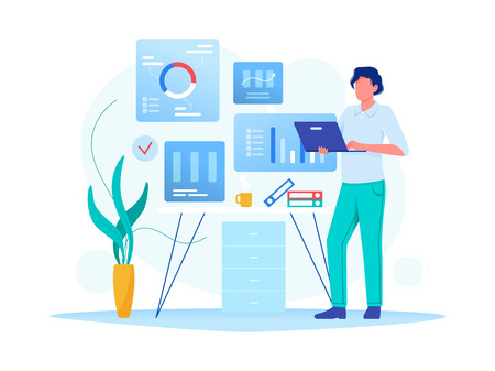 Data analysis, strategy. Man is working with data on the laptop in the office. Flat vector concept illustration for website, banner, flyer. Isolated on white.