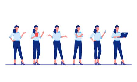 Set di pose e azioni di personaggi aziendali. La donna di affari sta stando nelle pose differenti. Illustrazione vettoriale piatta