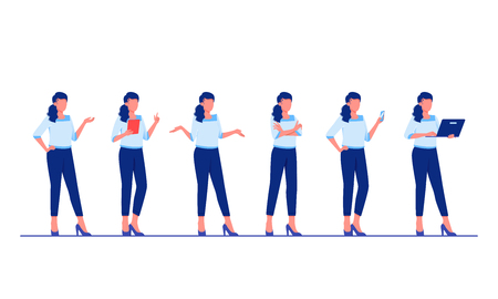 Set of business characters poses and actions. Businesswoman is standing in different poses. Flat vector illustration