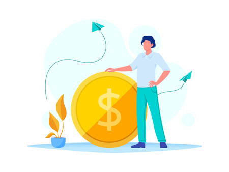 Earning, saving and investing money. Businessman is standing near a big dollar coin. Flat vector concept illustration for website, banner, flyer. Isolated on white Ilustrace