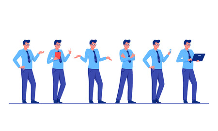 Set of business characters poses and actions. Businessman is standing in different poses. Flat vector illustration Illustration