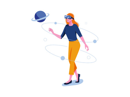 Virtual reality. VR gaming, video gaming, online games. Woman is standing in VR glasses. Flat vector concept illustration isolated on white. Illusztráció