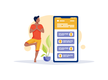 Social networks, chatting, dating app. Young man are doing yoga with big smartphone and talking to phone. Flat vector concept illustration isolated on white. Illustration
