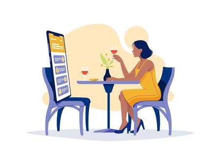 Soziale Netzwerke, Chatten, Dating-App. Junge Frau sitzt mit großem Smartphone im Restaurant und telefoniert. Flache Vektorkonzeptillustration lokalisiert auf Weiß. Vektorgrafik