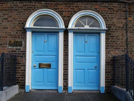 twin house: twin doors Stock Photo