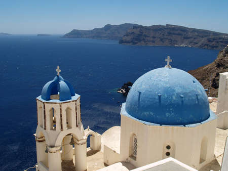 Santorini church cupolas photo