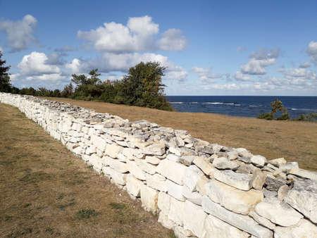 Stones wall line on Panga cliffs, Saaremma.
