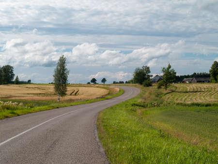 Beautiful Countryside Landscape Road in Latvia.